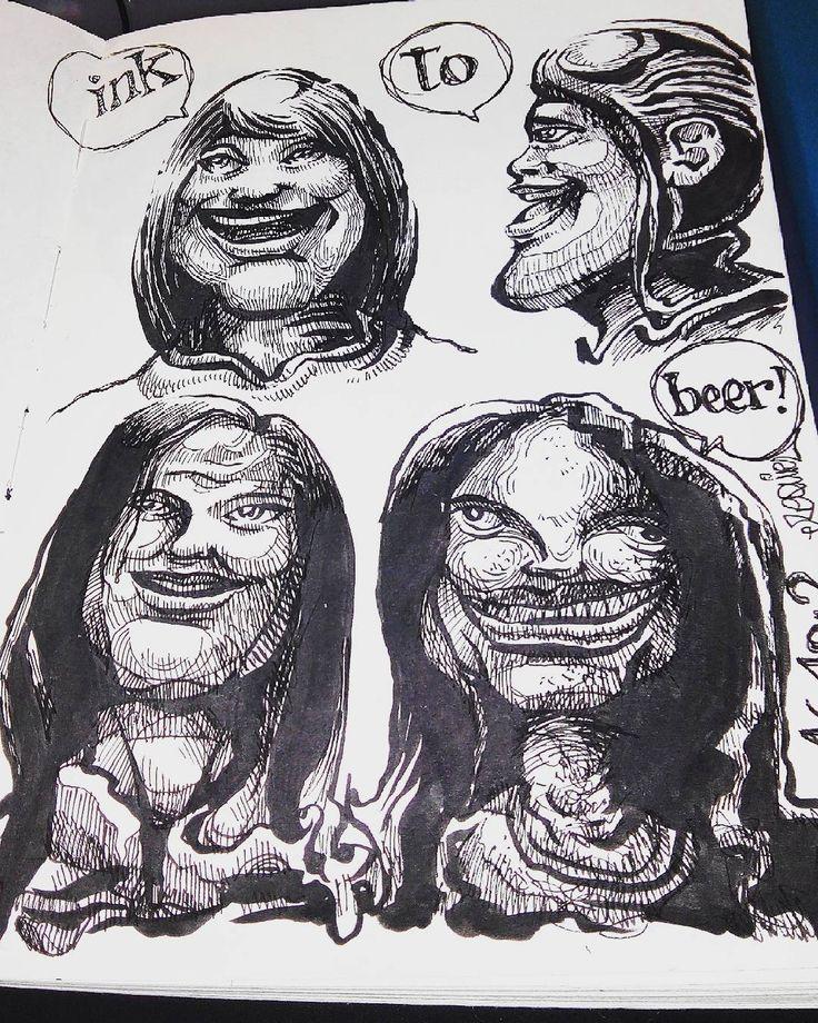 estudio de caras.  tinta