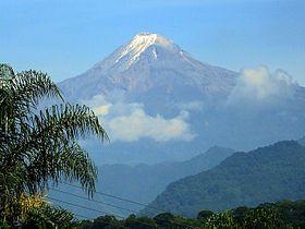 Pico de Orizaba, looking northwest from Fortín de las Flores, Veracruz. Highest mountain in Mexico, snowcapped year round.