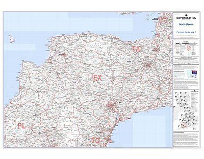 *brand new* #laminated postcode wall map of north devon #england uk #britain ©,  View more on the LINK: 	http://www.zeppy.io/product/gb/2/191301126594/