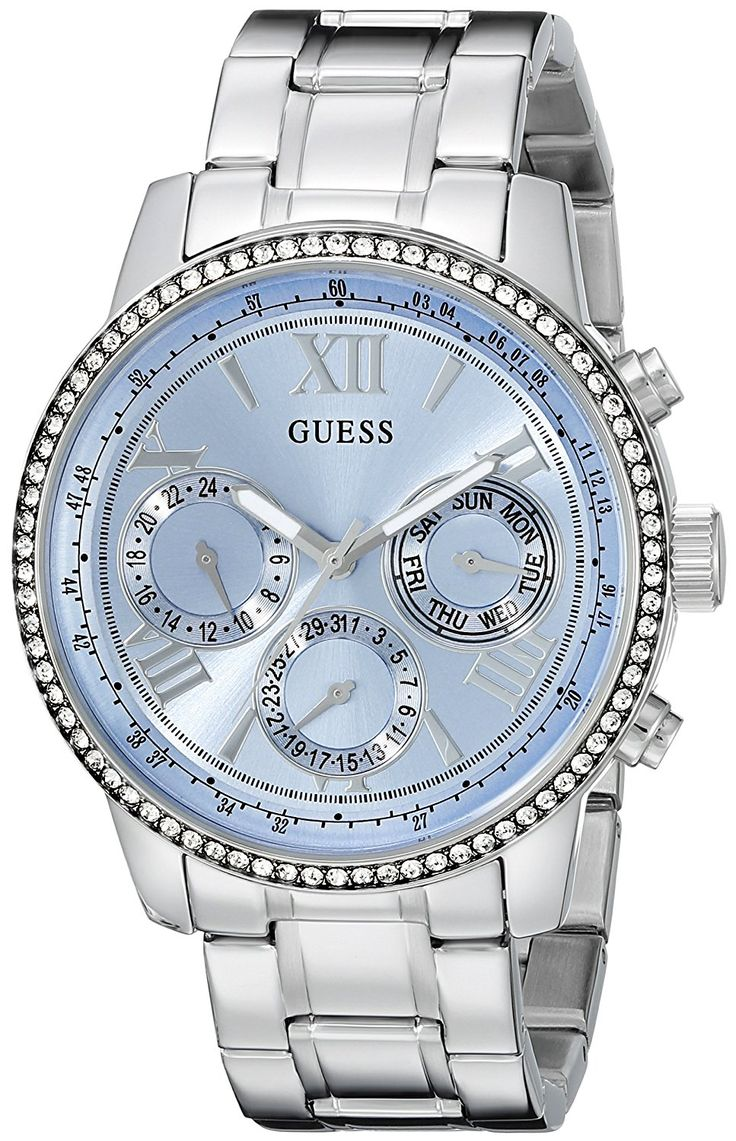GUESS Women's U0559L4 Classic Sporty Stainless Steel Watch with Blue Dial >>> Visit the image link more details.