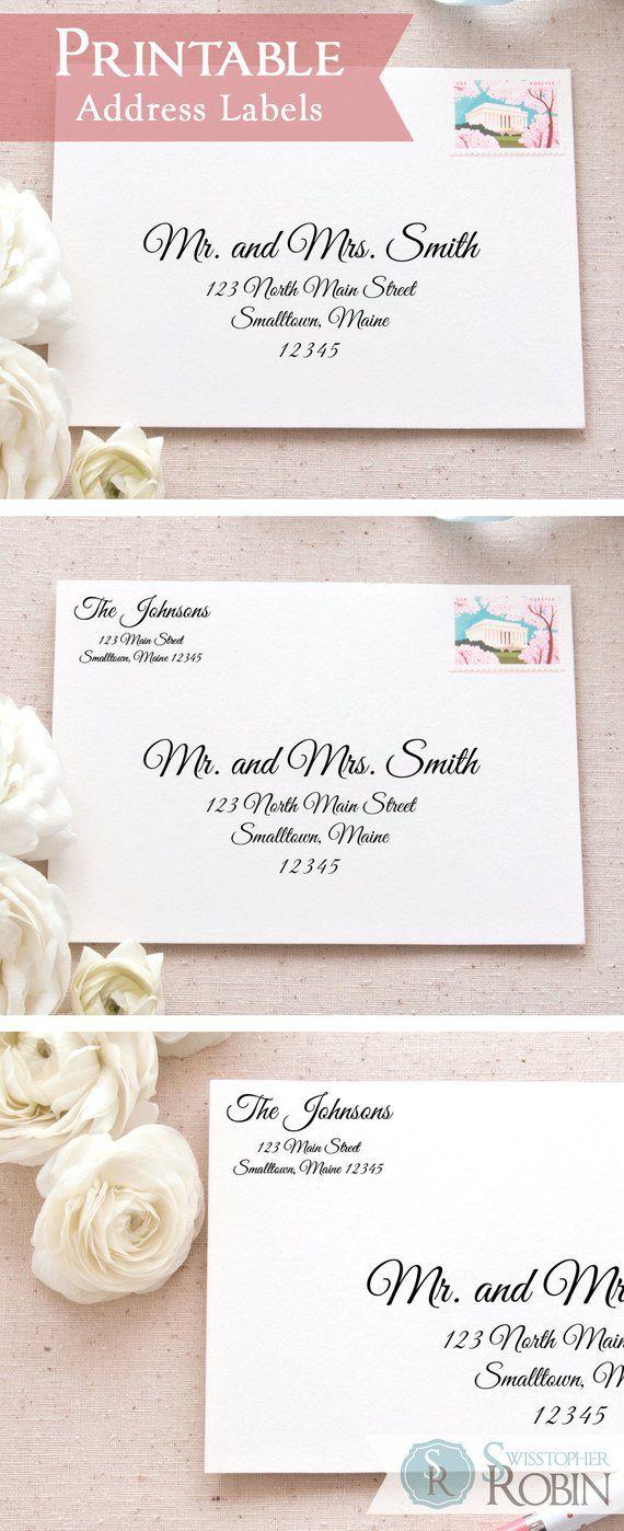 wedding return address label template