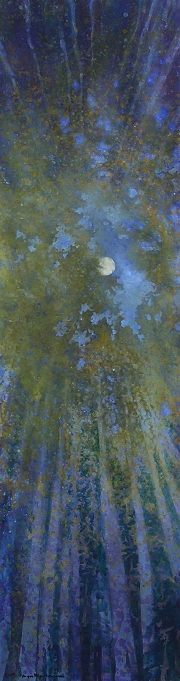 Aspen Crown Moon by Angus MacphersonArt Nature, Crowns Moon, Aspen Crowns, Art Stars Moon Painting, Nature Watercolors Painting, Aspen Tree Paintings, Aquarelle Painting Abstract, Angus Macpherson, Aspen Painting