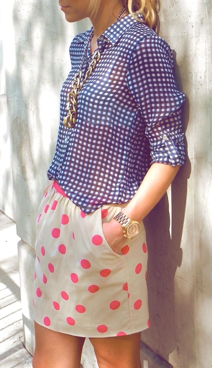 gingham + polka dots