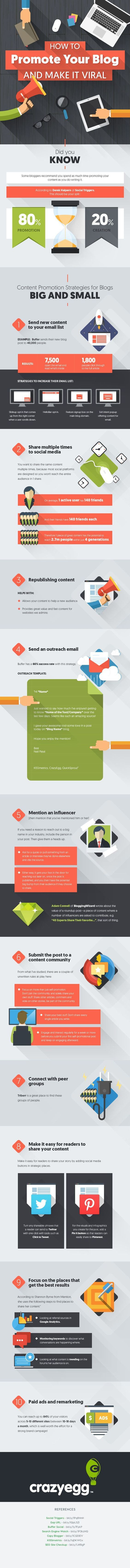 10 Powerful Ways To Promote Your Blog Posts & Get Blog Traffic - infographic