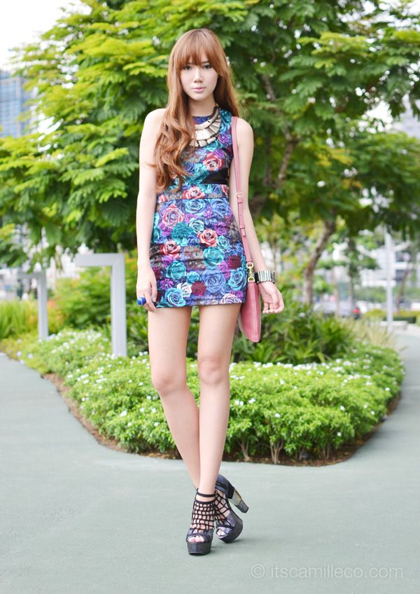 #floral dress with necklaces and caged #heels    #accessories: Heels Accessories, Caged Heels, Floral Dresses