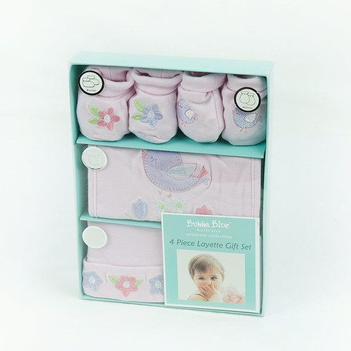 Baby Girl Pink 4 Piece Layette Gift Set