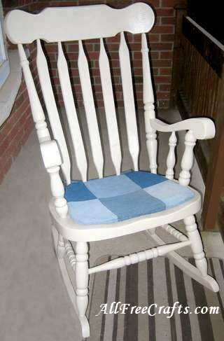 how to sew a patchwork denim chair pad for a rocking chair or dining room chair