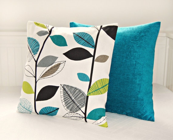pair of pillow covers teal blue lime green leaves, accent turquoise peacock blue cushion covers 16 inch via Etsy
