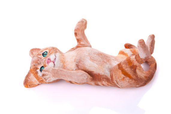 Cat sculpture ginger kitten sculpture pet sculpture by MadHippoArt