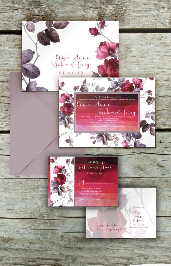 Hey, I found this really awesome Etsy listing at https://www.etsy.com/listing/219351877/modern-rose-burgundy-wedding-invitations