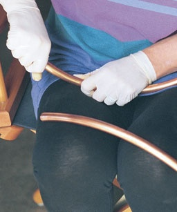 For the curves, I use copper refrigerator coil instead of standard plumbing pipe. It's softer and bends more easily.