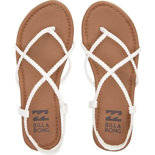 Billabong Women's Crossing Over Sandals ($30) ❤ liked on Polyvore featuring shoes, sandals, flats, zapatos, white, footwear, strappy sandals, braided strap sandals, braided sandals and t-strap flats