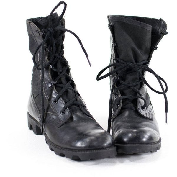 Vintage 90s Military Boots Black Leather Combat Boots Womens Size 8.5 (1.695 CZK) ❤ liked on Polyvore featuring shoes, boots, black boots, army boots, lace up boots, laced up boots and leather lace up boots