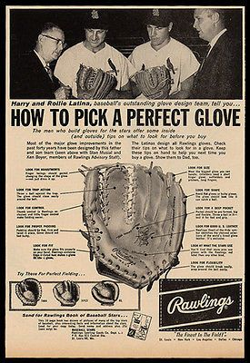 "paperink id: ads150 Stan Musial Ken Boyer Rawlings Baseball Glove Vintage Ad 1961 ""How To Pick A Perfect Glove"" ORIGINAL PERIOD Magazine Advertisement measuring approximately 7"" x 10.5"" AD is in Good"