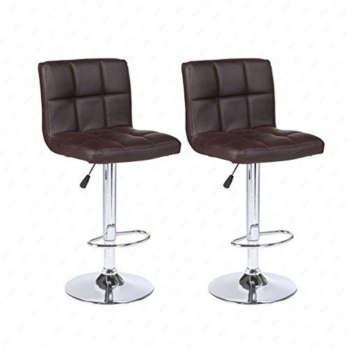 New Set of 2 Bar Stools Leather Adjustable Swivel Pub Chair In Brown