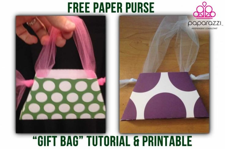 """This free printable paper purse """"gift bag"""" is a fun and inexpensive way to package your Paparazzi Accessories jewelry that sells at events or home parties."""