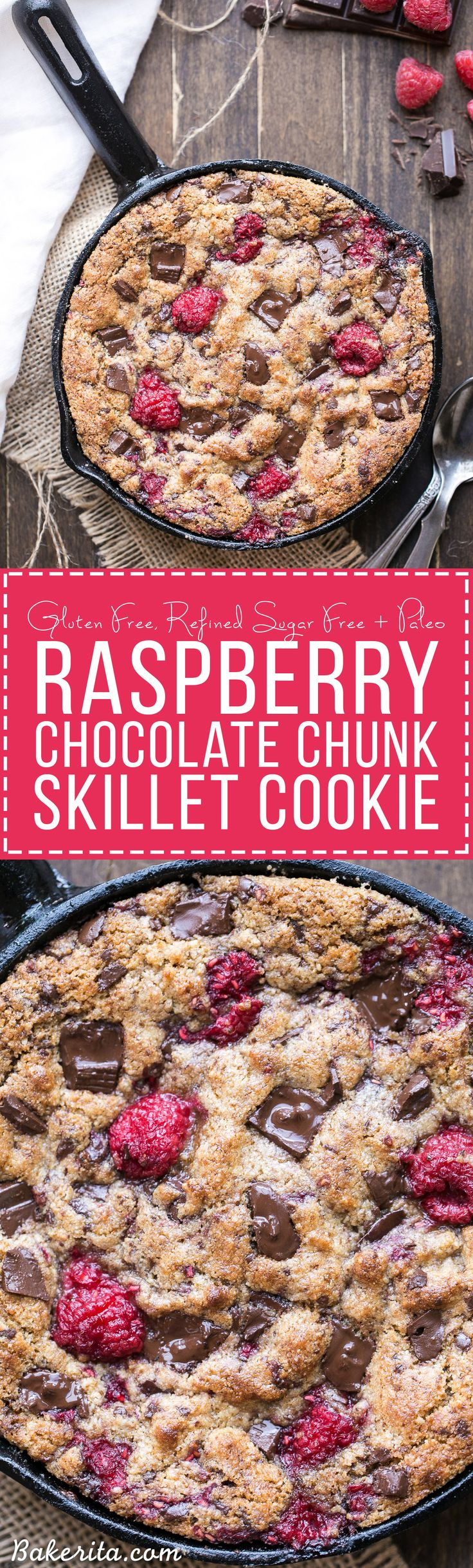 This Raspberry Chocolate Chunk Skillet Cookie is an easy, one bowl recipe loaded with fresh raspberries and dark chocolate chunks. This gooey skillet cookie is gluten-free, Paleo, and refined sugar free.
