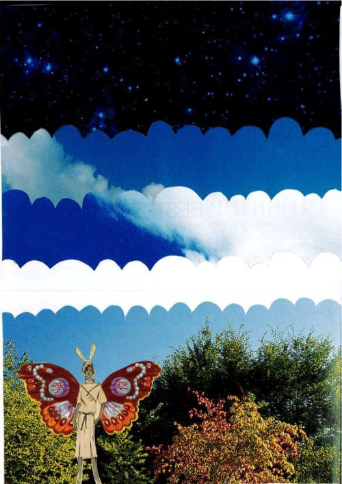 183/365: Blue skies but heavens apart, collage, A5.