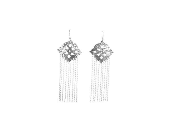 Thai Princess Chanderlier  Earrings in Sterling Silver with long chains www.murkani.com.au