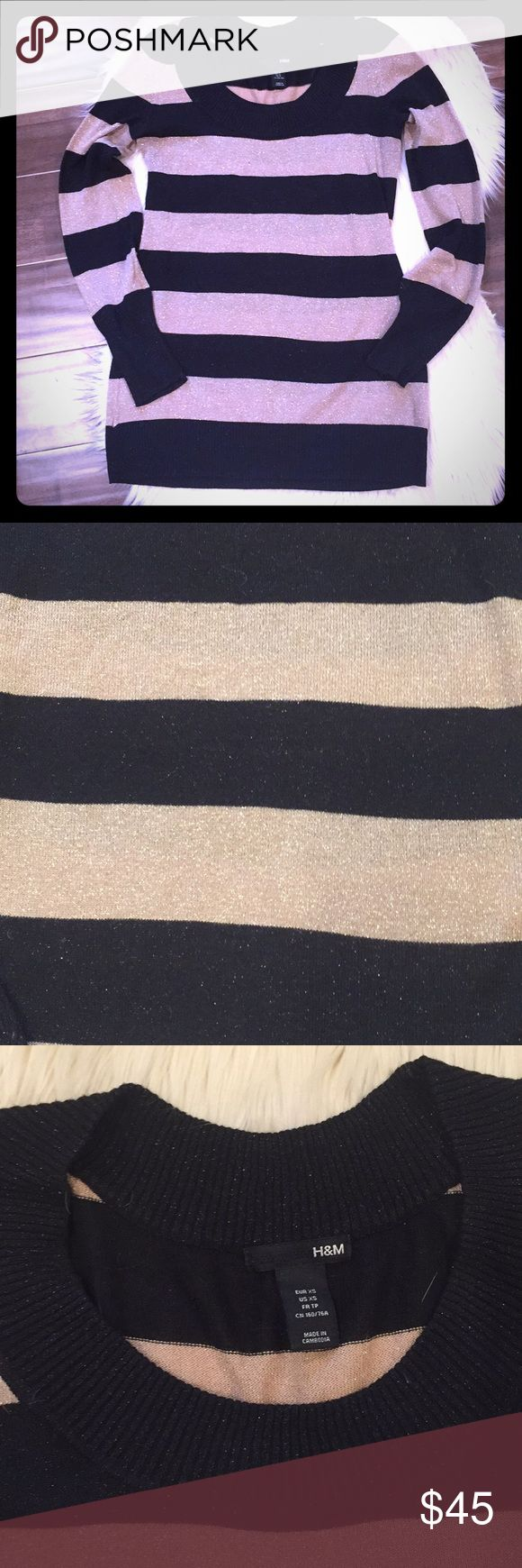H&M - Gold & Black Striped Long Sleeve Top Like New, gently worn excellent condition! H&M size XS Black & Gold Striped Long Sleeve Top. Can be worn for work with dress pants or casual with a pair of nice dark jeans! H&M Tops Tees - Long Sleeve