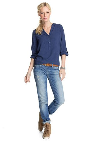 Esprit - Fließende Turn-up-Bluse mit Tupfen im Online Shop kaufen