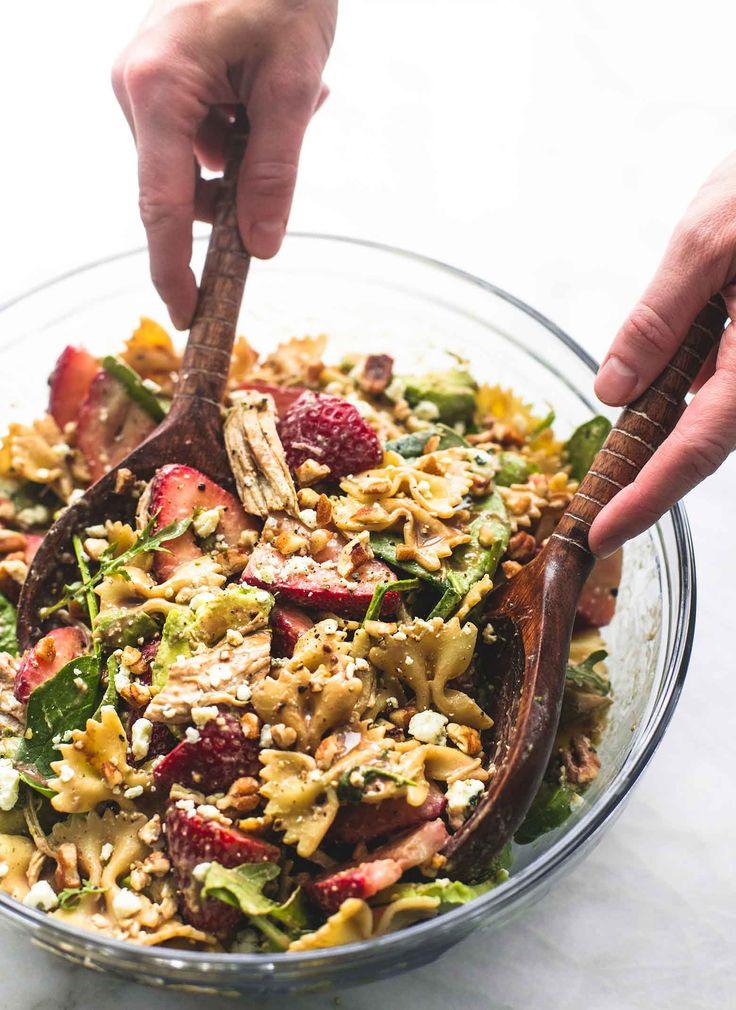 Strawberry Avocado Chicken Pasta Salad   lecremedelacrumb.com