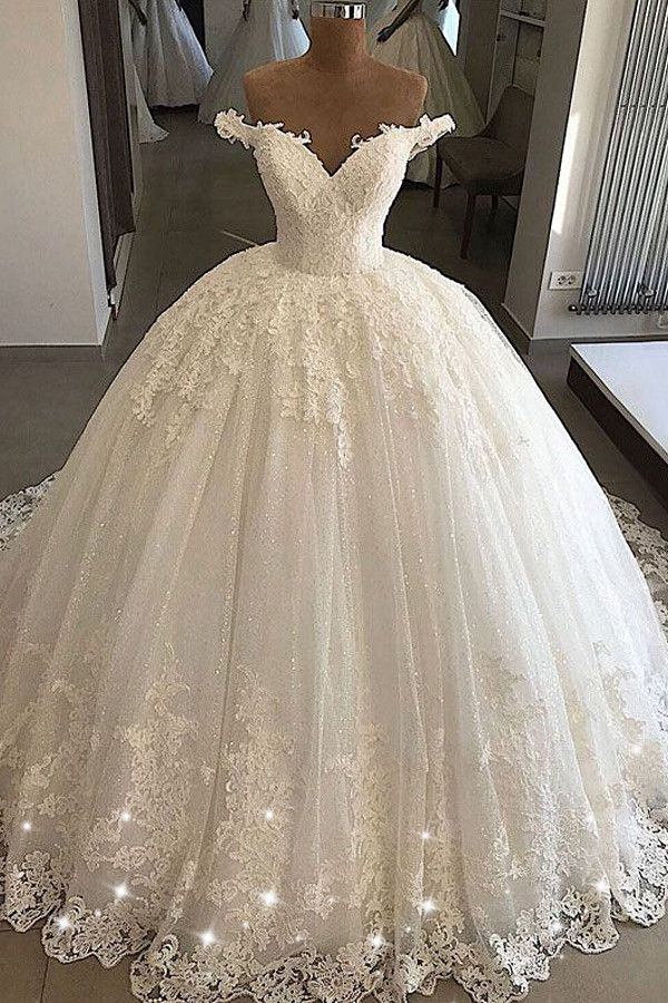 Stunning Tulle Off-the-shoulder Neckline Ball Gown Wedding Dresses With Lace Appliques & Beadings – Aitang