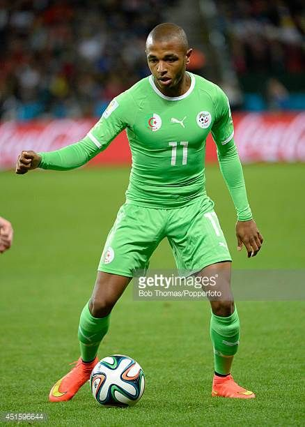 Yacine Brahimi in action for Algeria during the 2014 FIFA World Cup Brazil Round of 16 match between Germany and Algeria at Estadio BeiraRio on June...