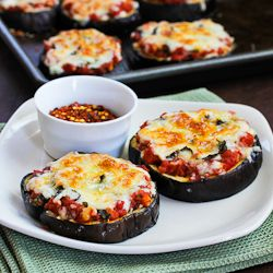 Julia Child's Eggplant Pizzas!!!! Add a tossed salad and French bread! Open a good bottle of Vino!  That's what's for dinner tonight