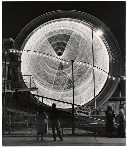 Andreas Feininger, The Gyro Globe Coney Island, New York, 1949: Gyros Globes, Globes Coney, 1949, Andrea Feining, Rollers Coasters, New York, Ferris Wheels, Coney Islands, Photography