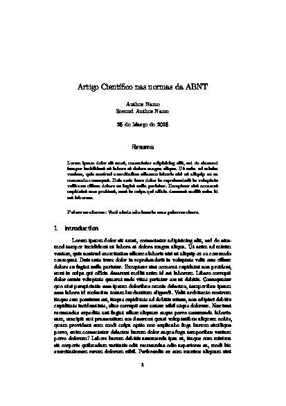 Artigo Científico nas normas da ABNT