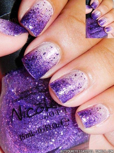 Purple glitter nails: Nails Art, Nailart, Nails Design, Purple Glitter, Purple Nails, Glitter Nails, Gradient Nails, Nails Polish, Sparkly Nails