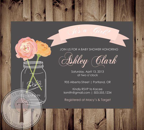 baby girl baby shower invitation, baby shower invite, mason jar, Baby shower invitations