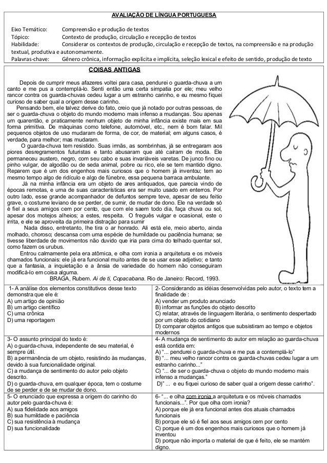 ATIVIDADES DIVERSAS CLÁUDIA: Avaliação de Português com Matriz de referencia