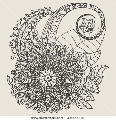 Ethnic Mehndi Tattoo Doodle Henna Paisley Flowers Elements