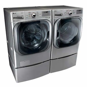 LG 5.2CuFt Mega Capacity Washer with TurboWash™ Technology 9.0CuFt Mega Capacity GAS SteamDryer™ in Graphite Steel