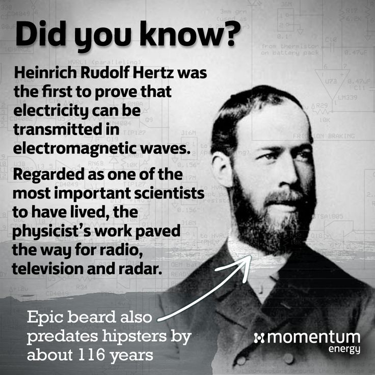 """Hertz so good! Science's greatest mythbusters are on show again this week, now featuring Heinrich Rudolf Hertz.   Despite his achievements, Hertz never lived to see just how important his work was. He passed away at 36 believing his discovery of electromagnetic waves was """"of no use whatsoever.""""  #didyouknow #science #mythbuster"""