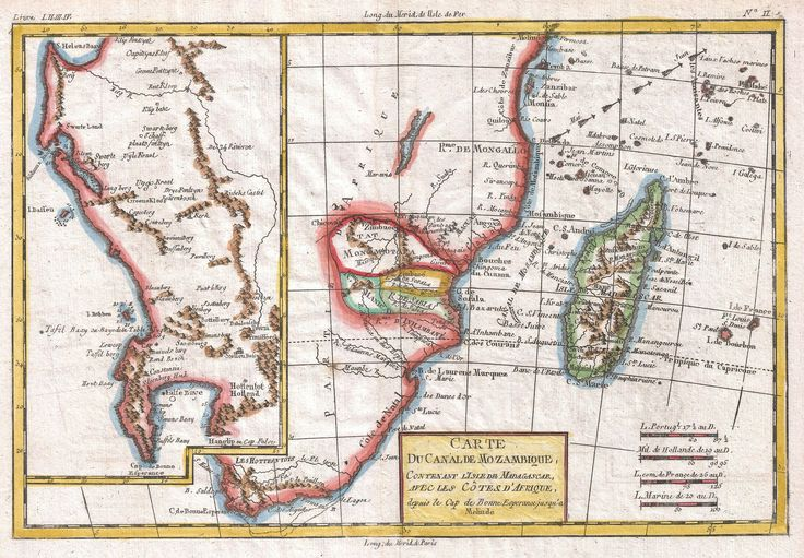 1780 Raynal and Bonne Map of South Africa, Zimbabwe, Madagascar and Mozambique