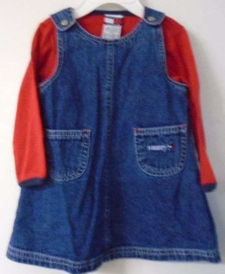 TOMMY HILFIGER Baby Girl Blue Denim Jumper Dress Red Long Sleeve Shirt 6-12 Mos #TommyHilfiger #Everyday