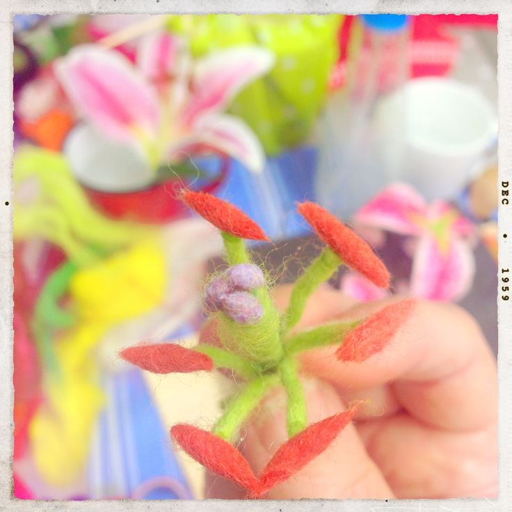 """Making the Felt Stamens for the Lily in my book """"Felting Fabulous Flowers"""""""