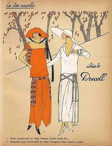 1923, Drecoll, Les Idees Nouvelles de la Mode Pochoir Art Deco Tres Parisien par J. Dory | Hprints.com