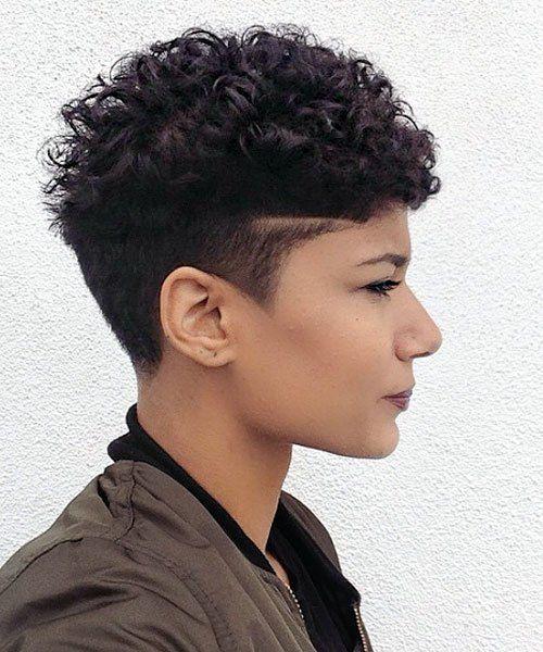 short curly undercut haircut for women