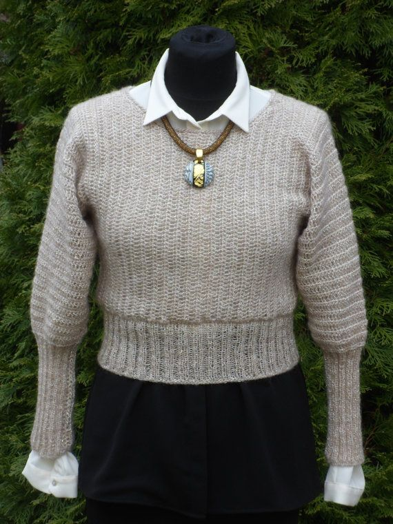 """ Hand knited and crocheted Womens Pullover, extra #soft merino #wool in c... Discover http://etsy.me/2haeeRb"