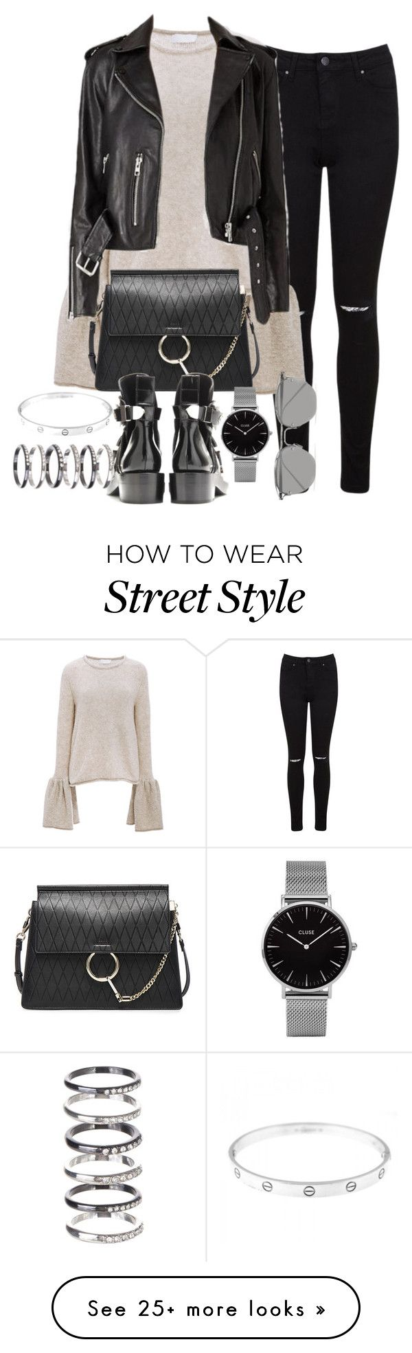 """""""Untitled #1361"""" by ruhika29 on Polyvore featuring Miss Selfridge, CO, Chloé, Topshop, Linda Farrow, Cartier and M.N.G"""