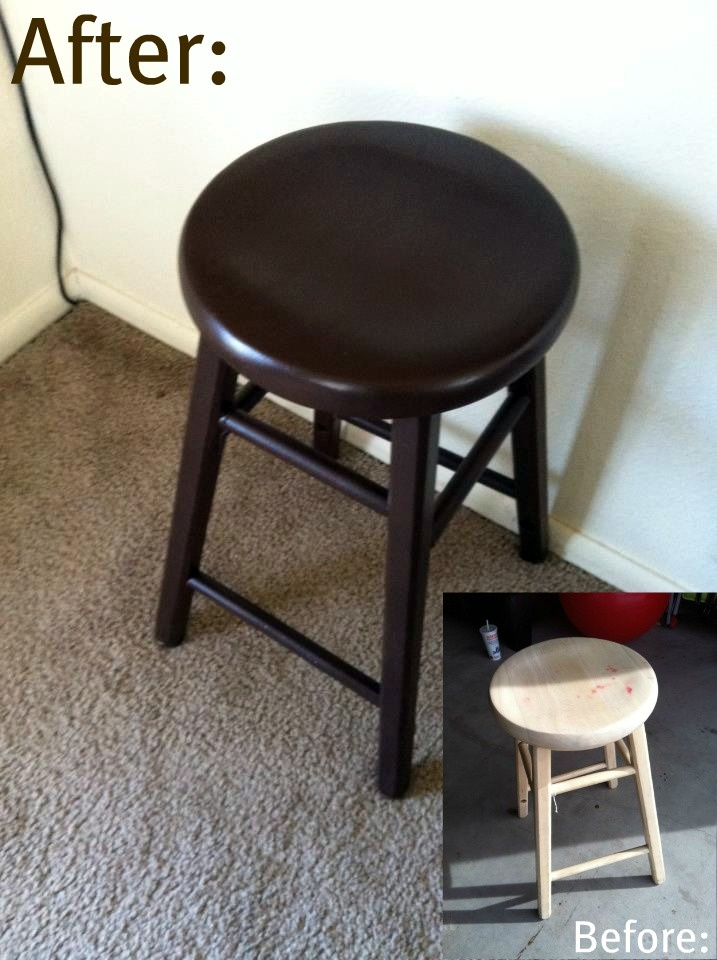 My Re-done Bar Stools: I made using some cheap stools I got from an antique store, and a can of flat satin brown spray paint. :) Good as New!
