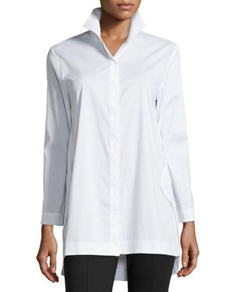 Long-Sleeve Blouse w/ Bracelet Sleeves, White by Neiman Marcus at Neiman Marcus Last Call.