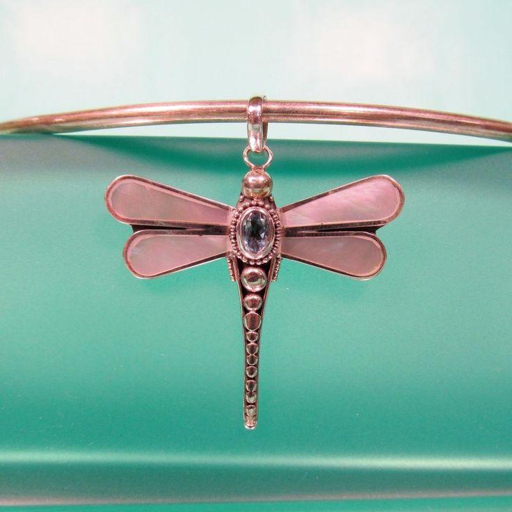 "1 1/2"" Dragonfly Mother of Pearl Gemstone 925 Sterling Silver Handmade Pendant #Handmade #Pendant"
