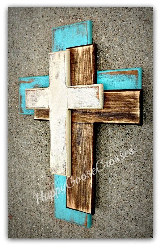 Wall Wood Cross – OFFSET – Medium – Antiqued Turquoise, Stain, and Beige