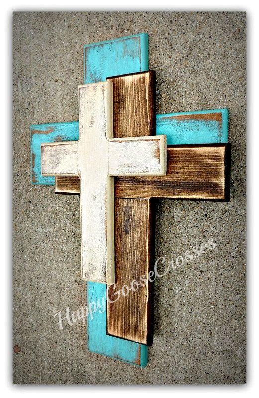 Wand-Kreuz – Holz Kreuz Dieser OFFSET Stil ist neu in unserer Linie der Kreuze! …