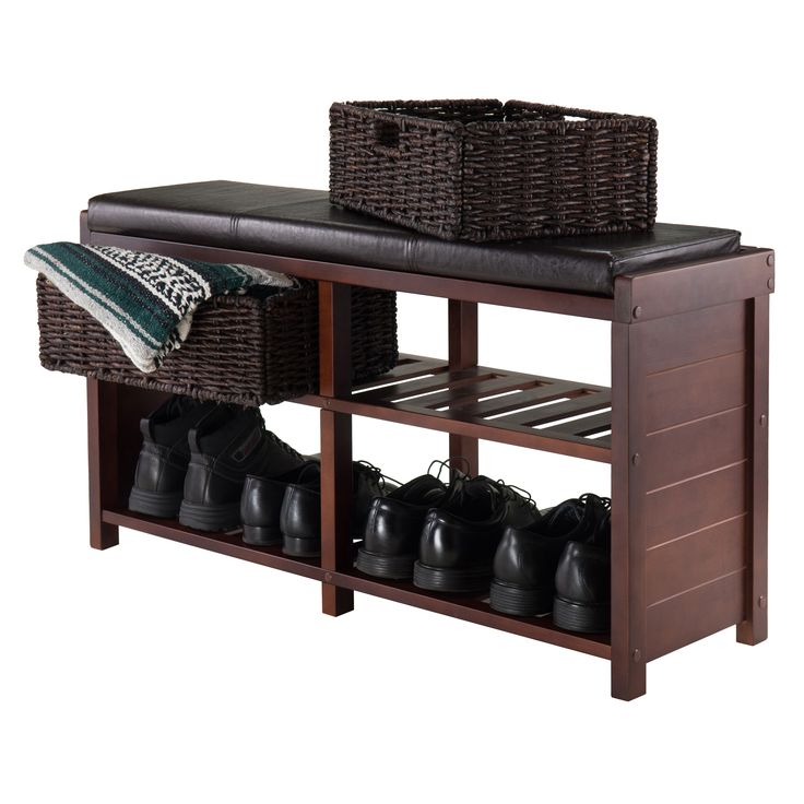 Winsome Colin Cushion Storage Bench with Basket & Reviews | Wayfair